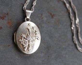 Oval Locket Necklace - Sterling Silver Happy Girl - Vintage Keepsake Pendant on Chain