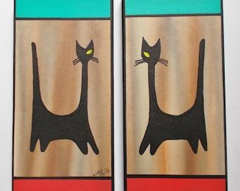 Pair Mid Century Modern Eames Era Retro Style Painting Black Witco Kitties Tiki Aqua Red