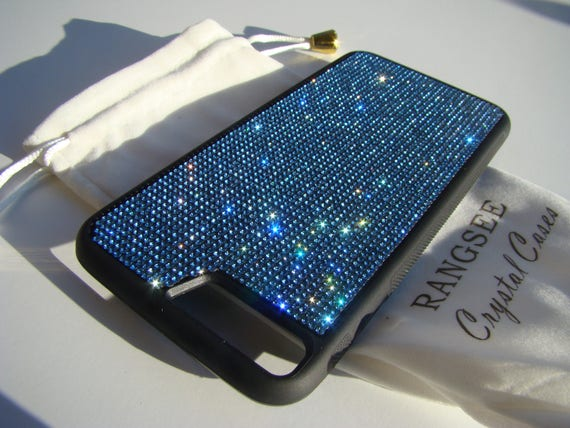 iPhone 8 Plus Case / iPhone 7 Plus Blue Sapphire Rhinestone Crystal on Black Rubber Velvet/Silk Pouch Bag Included, .