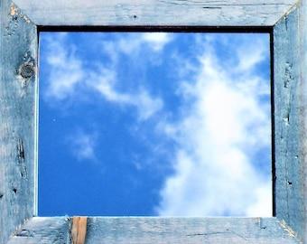 Vintage Blue Farmhouse Mirror, Rustic Barn Wood Style Mirror, Distressed Denim Blue Mirror, Blue Wood Stain Framed Mirror, Worn Navy Frame