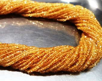 """AAAA quality natural Citrine micro faceted rondelles beads 13.5""""inches, size 2.5MM-3MM"""