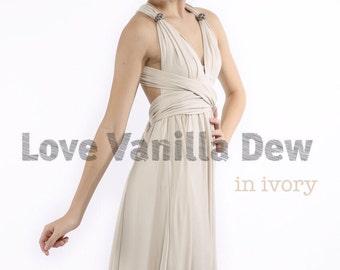 Bridesmaid Dress Infinity Dress Ivory Almond Knee Length Wrap Convertible Dress Wedding Dress