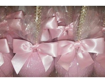 All about that BLING! Shimmer Glimmer Candy Apples 12 per order light pink, lavender, gold, silver, white
