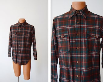 70s/80s Green and Red Pendleton Wool Plaid Shirt