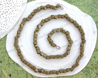 Raw Brass Spacers, 4.5 to 5mm, 100 Spacer Beads, Metal Spacer Beads, Rustic Diamond Cut Beads, Large Hole Beads, Macrame' Beads MB-090