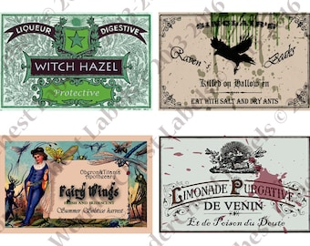 "Vintage Halloween Party Printable Labels  5.3"" x 3.4"" - haunted apothecary, potion bottle wine water food,  instant download"