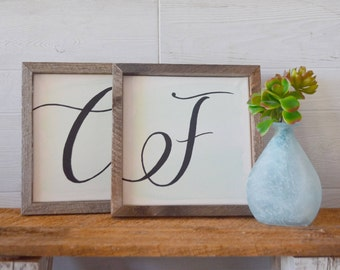 Hand Painted Calligraphy Monogram Barnwood Frame Sign