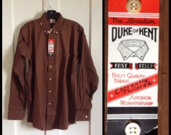 Vintage Deadstock 1930's Work Dress Shirt NWT Duke of Kent size 15 Brown Cotton Gussets