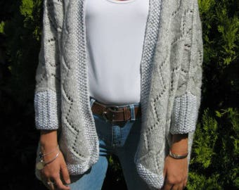 Women's grey hand knitted Kimono jacket size 38-40