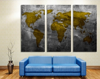 Gold world map etsy abstract metallic gold world map 3 panel split canvas print triptych wall art gumiabroncs Gallery