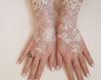 cappuccino, lace bridal gloves, honey, wedding glove, rustic, wrist cuffs, prom dress accessories, bellydance, Bachelorette party bridesmaid