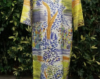 1960's Caftan with groovy tree and village print zips up front size M/ free