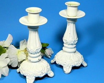 A Pair of White Empire Lighting Metal Candlestick Lamp Bases