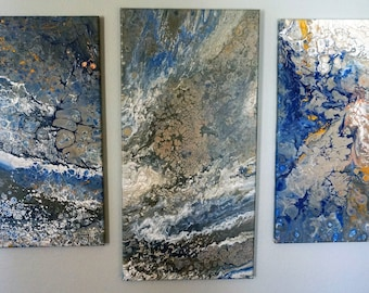 Three Panel Custom Marble Acrylic Painting