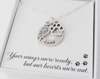 Dog Memorial Name Necklace - Custom Name Pendant - Pet Sympathy Gifts - Personalized Handstamped Name - Dog Paw Charm - Angel Wing Charm