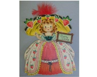 Curly Locks Doll Card Vintage Hallmark Land of Make Believe w/Envelope