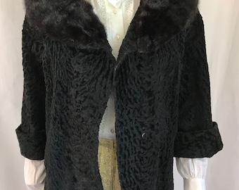 1950's Faux Persian Lamb Jacket w/ Mink Collar sz. M