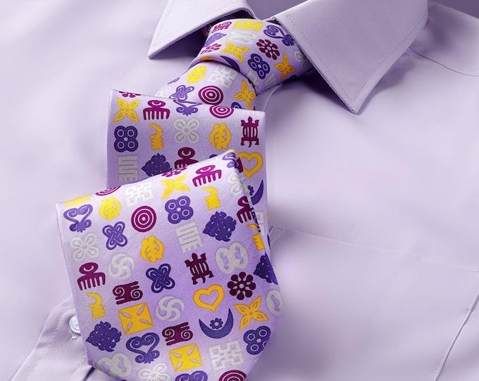 Lilac Hand Printed Adinkra Symbols Silk Wedding Necktie and Pocket Square