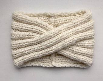 Wide women Headband Knit alpaca wool headband  Turban Bandeau laine Wool Headband Alpaca Turban  Knit turban White headband