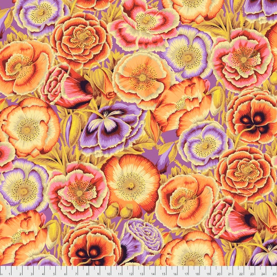 POPPY GARDEN Orange Philip Jacobs PWPJ095.ORANG Kaffe Fassett Collective Sold in 1/2 yd increments Pre-Order Item