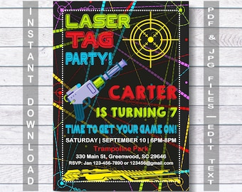 Laser invitation etsy laser tag party invitations laser tag invitation laser tag party instant download stopboris Image collections