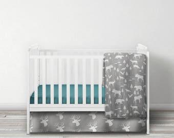 Woodland Minky Blanket - SHIPS today -  Designer Bedding - Bear Bedding - Moose Bedding - Deer Blanket - Woodland Bedding - Gray Blanket