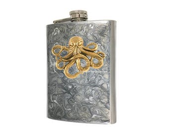 Kraken Flask Inlaid in Hand Painted Enamel Silver Swirl Design 8oz Hip Flask withColor and Personalized Option