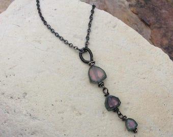 RAW Watermelon TOURMALINE Necklace, Raw Tourmaline stone pendant, sterling silver, handmade artisan jewelry by Angry Hair Jewelry