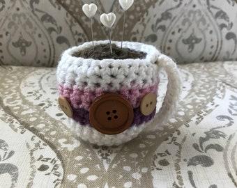pin cushion crochet coffee cup