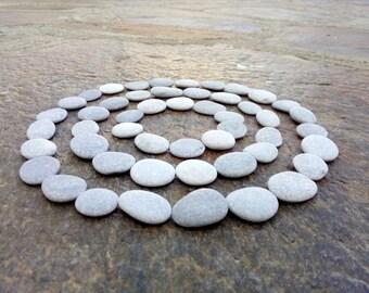 60 Small Flat Pebbles, Craft Pebbles, Beach Pebbles, Beach Stones, Smooth Pebbles, STONE BUTTONS, Small Round Pebbles, Tiny Pebbles 5 - 10mm