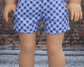 18 Inch Girl Doll Clothes | Two Tone Blue Diagonal Plaid Twill SHORTS American Made