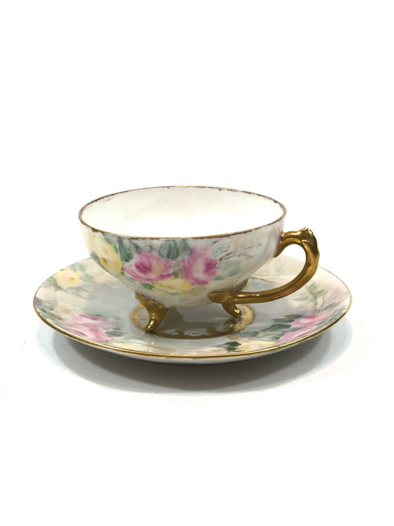Hand Painted Tea Cup & Saucer, Bone China Footed Teacup, Pink Yellow Roses, Gilded Handle Feet, Vintage Antique Shabby Chic Porcelain