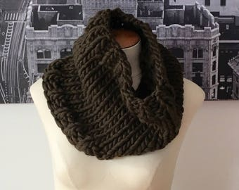 hand-knit chunky cowl - dark olive