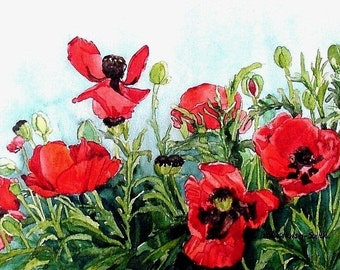 Red Poppy Field Painted from My Garden
