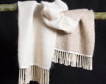 Stola, Handgeweven, mohair-wol, viscose / art-silk.  200x75 cm  XL scarf.