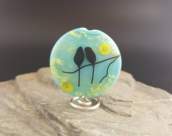 Lampwork Glass Focal Bead - handmade - Kimono Love Birds Bird Bead