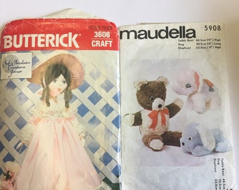 Two Vintage Toy Sewing Patterns
