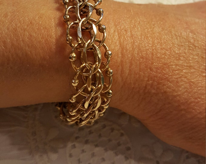 On Sale - Vintage Rhythm Double Chain Charm Bracelet 12K Yellow Gold Filled
