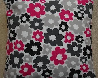 "Pillow Cover 24x24 Fuschia Pink Charcoal Gray Black and Ivory Decorative Pillow 24"" Cushion Slip Sham Case Pillowcase Anya Fuchsia"