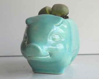 Pig Planter, Ceramic Planter, 60s Pig, Plant Pot, Succulent Planter, Vintage Design, Aqua Kitchen Decor, Cactus pot, Piggy Planter, Animal