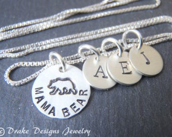 Sterling silver mama bear necklace with personalized initials