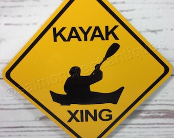 """Kayak Xing Mini Metal Yellow Caution Crossing Sports Sign 6""""x6"""" or 12""""x12"""" NEW (2 sizes available)"""