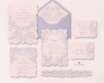 Castlefield Lavender Pink Rococo Flourishes Bachelorette Tea Party Wedding Event Invitations RSVP Stationery Customized Printable Luxury