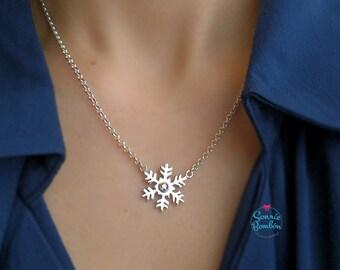 Copo de nieve collar / Collar copo de nieve invierno / Bonito copo de nieve collar elegante piedra cristal swarovski / Copo de nieve piedra