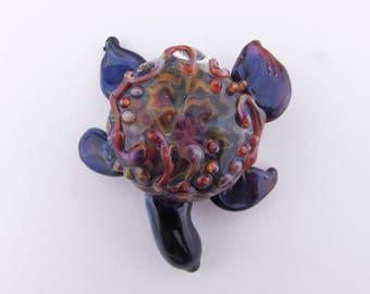 Turtle Pendant, Hand Blown Glass,  Borosilicate, Boro Pendant, Glass Turtle, Boro Turtle, Sea Life, Lampwork Necklace, Ocean bead