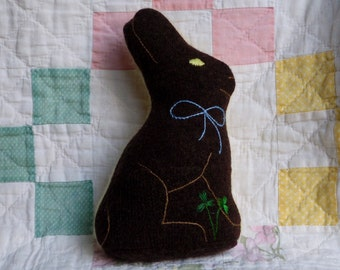 Dark Chocolate Wool Easter Bunny