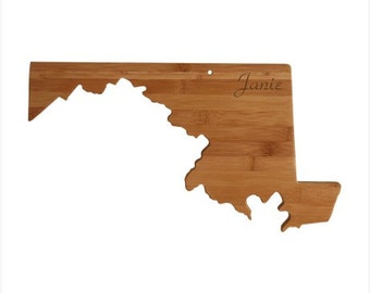 Engraved Maryland Cutting Board - Maryland Shaped Bamboo Cutting Board, Custom Engraved - Wedding Gift, Couples Gift, Housewarming Gift