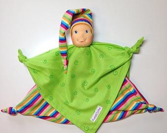 Teething doll, handmade doll, waldorf baby doll, blanket doll, soft doll, natural doll, babyshower gift, child friendly, waldorfinspired