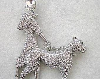 Sparkling & Fun Clear Crystal Lady Walking a Dog Brooch