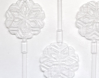 Snowflake Lollipop Mold, Chocolate Mold, Snowflake Chocolate Lollipop Mold